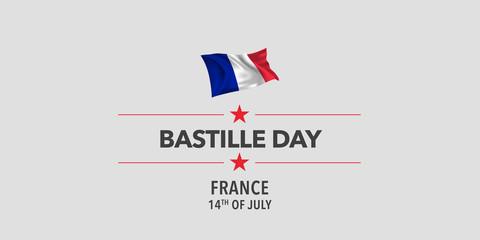 Canvas Prints Geometric animals France happy Bastille day greeting card, banner, vector illustration