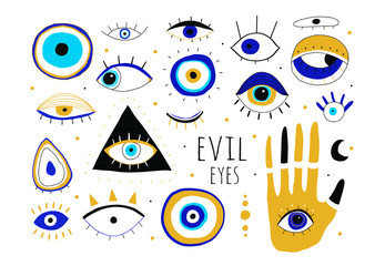 Evil eyes. Set of hand drawn various talismans. Different shapes. Flat design. Free hand drawing style. Contemporary modern trendy vector illustration. All elements are isolated Wall mural