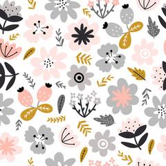 Fototapete - Summer floral seamless pattern