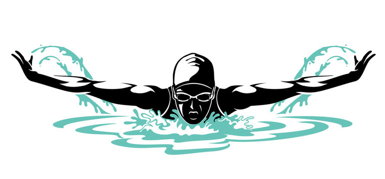 Swimmer Female Front View, Butterfly Swim