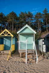 Fototapete - Close Up Beach Huts in Norfolk