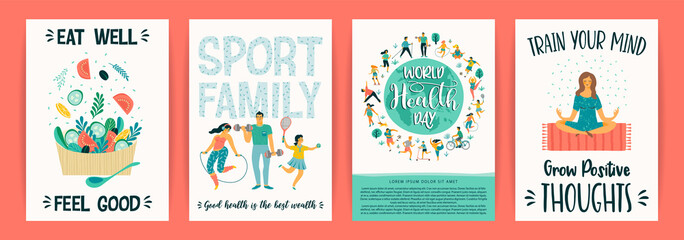 Vector templates with people leading an active healthy lifestyle. Wall mural