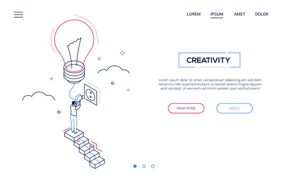 Creativity - line design style isometric web banner