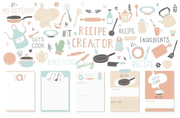 Modern Recipe card template set for cookbook. Menu Creator Vector Illustration.