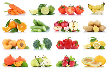 Wall Mural - Fruits vegetables collection isolated apple apples oranges strawberries tomatoes banana colors fresh fruit