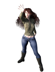 Urban fantasy woman with long red hair in leather jacket. 3d render.