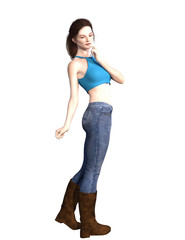 Woman in jeans with long hair. 3d render.