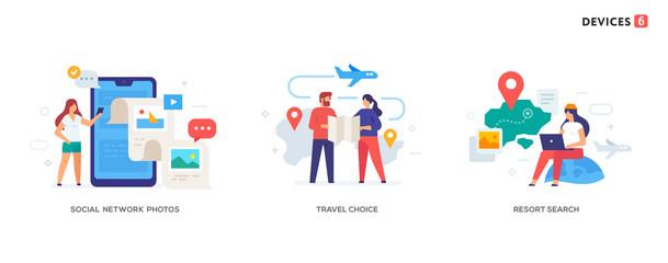 People use smartphones, leisure tourism, flights, social networks set of icons, illustration. Smartphones tablets user interface social media.Flat illustration Icons infographics. Landing page site