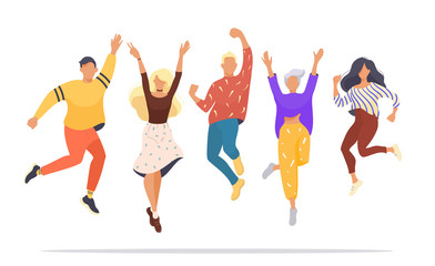 set of jumping successful happy people. Vector illustration concept of team building. Modern vector illustration flat design for web banner, marketing material, business presentation, online advertisi