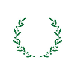 Circle frame from green silhouette of laurel branches with berries in flat style
