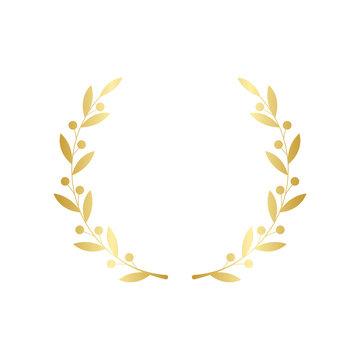 Gold wreath decoration isolated on white background