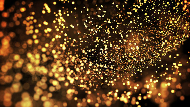 gold particles glisten in the air, gold sparkles in a viscous fluid have the effect of advection with depth of field and bokeh. 3d render. cloud of particles. 76