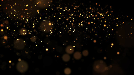 gold particles glisten in the air, gold sparkles in a viscous fluid have the effect of advection with depth of field and bokeh. 3d render. cloud of particles. 174