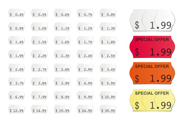 adhesive american vector price tags isolated on white background icluding special offers in Dollars and Cent