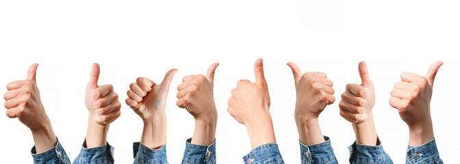 set: images of hands show thumb up gesture. From different angles. isolated on white background
