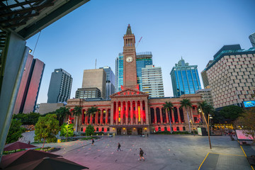 Fotomurales - Brisbane city skyline  at twilight in Australia