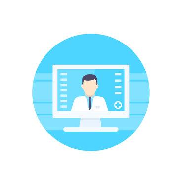 Online medical diagnosis vector icon