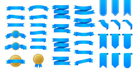 Blue ribbons banners. Set of ribbons. Vector stock illustration.