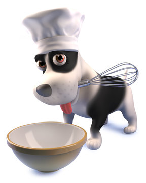 Funny cartoon puppy dog in chefs hat making a cake with a whisk and mixing bowl, 3d illustration