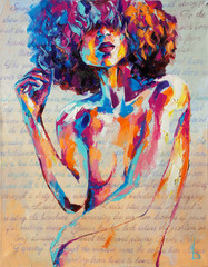 """""""Louise"""" - oil painting. Conceptual abstract picture of a beautiful girl. On the background is..."""