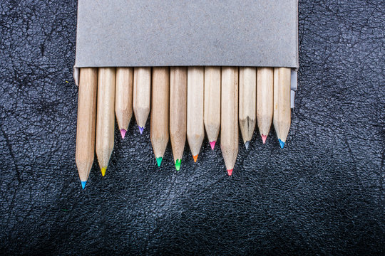 Colored pencils for creative idea and concept. Drawing and painting