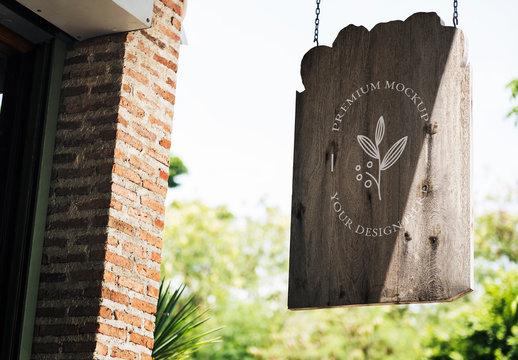 Hanging Wooden Shop Sign Mockup