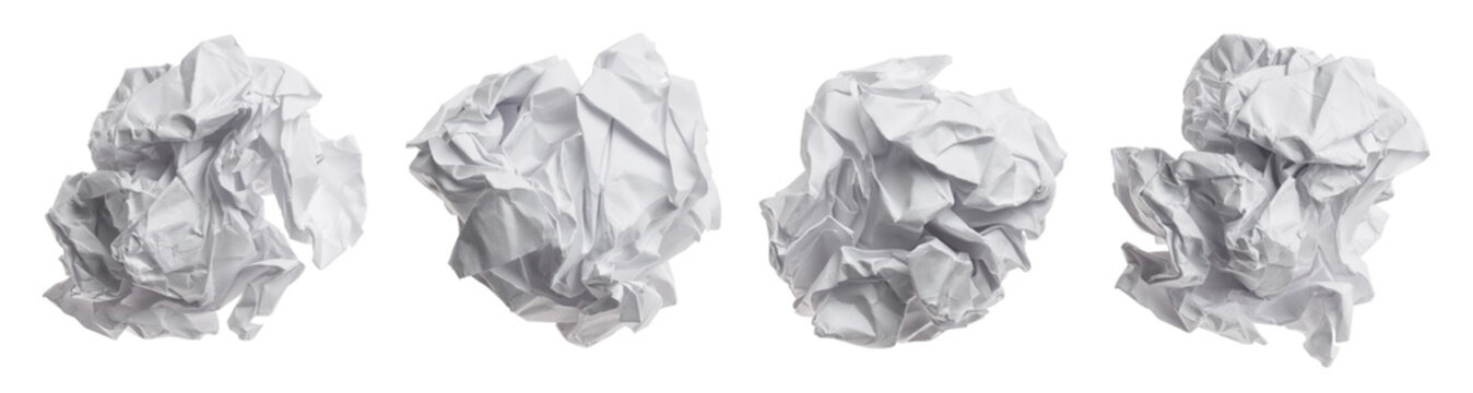 Set of crumpled paper balls, isolated on white background