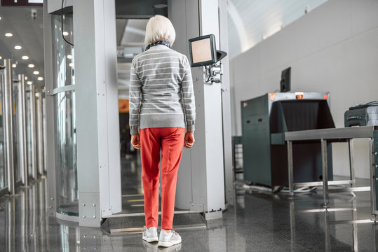 Mature female passing control at the airport