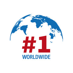 Worldwide number one blue and red vector sign