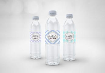 3 Clear Water Bottles Mockup