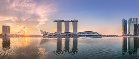 Business district and Marina bay in Singapore Fototapete