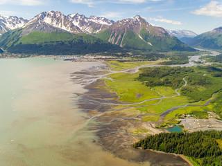 Aerial view of the coastal city of Seward during daylight, Alaska.