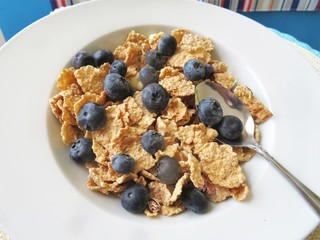 Bowl of cereal with fresh blueberries for a nutritional breakfast