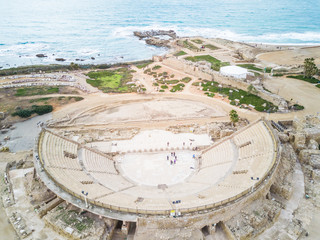 Aerial view of the Roman Amphitheater in Tel-Aviv, Israel.
