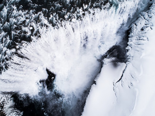 Aerial view of Dettifoss waterfall coming from the nearby Vatnajˆkull glacier, Iceland.