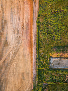 Aerial view of new soil being prepared for agriculture, Australia.