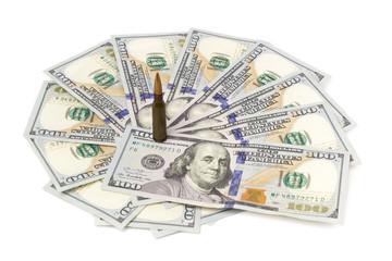 bullets on american dollars background Ammunition from the gun on money bills