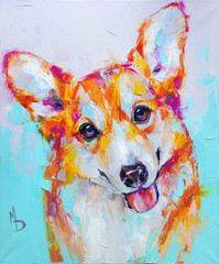 Oil dog portrait painting. Conceptual abstract painting of a welsh corgi pembroke muzzle. Closeup of a painting by oil and palette knife on canvas.