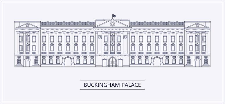 London Buckingham palace outline flat vector illustration.