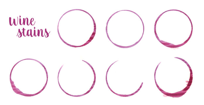 Red wine stains rings traces from wine glasses