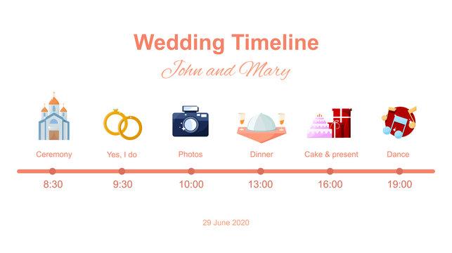 Wedding timeline on white background. Menu on wedding theme plan. Vector