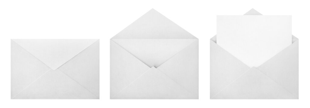 Set of white envelopes (sealed, empty and with a blank paper inside), isolated on white background
