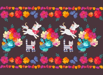 Cheerful unicorns, tabby cats, fantastic pigeons with tails in shape of bouquets of garden flowers and floral frame with blue butterflies and bright petals on dark purple background. Seamlees pattern.