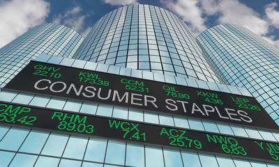 Consumer Staples Goods Stock Market Industry Sector Wall Street Buildings 3d Illustration