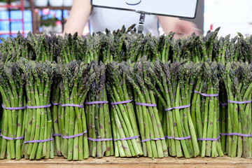 Bunches of asparagus bound with rubber bands for sales at summer market