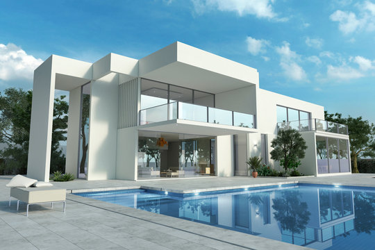 Impressive white modern house with pool