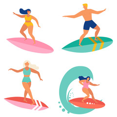 Surfing people flat illustration design