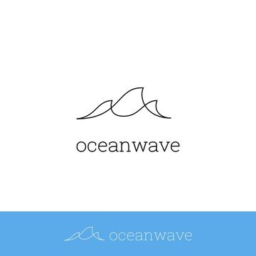 Sea wave, ocean wave logo icon simple monoline modern minimalistic thin line symbol design with three wave