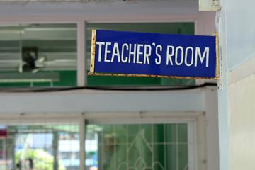 Door sign for a teacher's office at a school