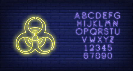 Bio hazard neon sign on brick wall background. Waste, caution, danger. Warning concept. Vector illustration in neon style for billboards, signboards, signboards